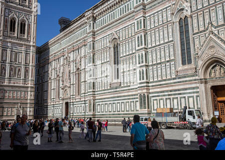 Florence duomo cathedral Santa Maria del Fiore and bell tower  in historic centre of Florence,Tuscany,Italy - Stock Image