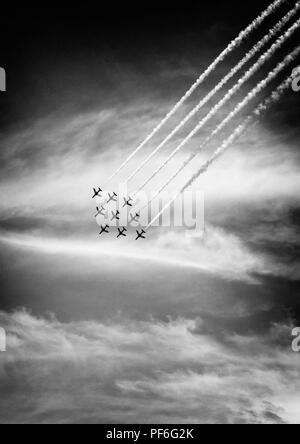 The RAF Red Arrows display team at Eastbourne Airshow 2018 - Stock Image