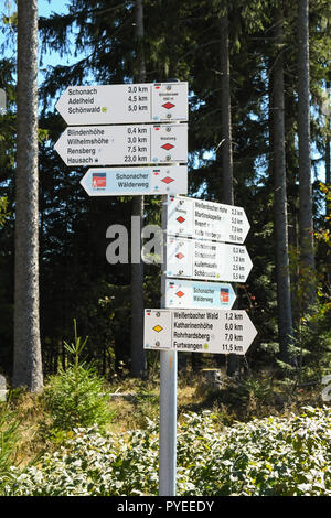 footpath sign marker for the Westweg or Westway long distance Black Forest walking route, Germany, Europe - Stock Image