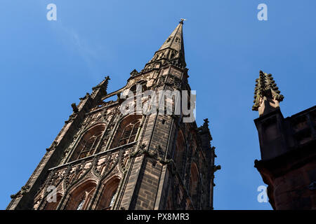 St Michaels Tower in the ruins of Coventry Cathedral from Bayley Lane in Coventry city centre UK - Stock Image