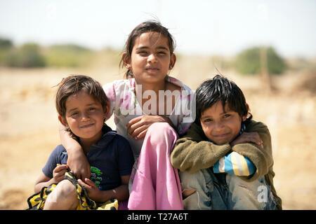 Bhil tribe children, Rajasthan, India. - Stock Image