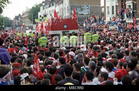 Islington celebrated Arsenal's 1994 European cup win - Stock Image