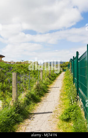Well maintained footpath next to the East Lancashire Railway line near Burrs Country Park,  part of the 33 mile long Irwell Sculpture Trail, Bury - Stock Image