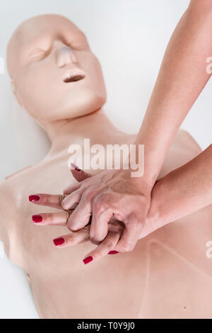 First Aid Training. Cardiopulmonary resuscitation. First aid course. - Stock Image