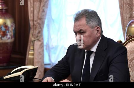 Moscow, Russia. 02nd Feb, 2019. Russian Defense Minister Sergei Shoigu during a meeting with President Vladimir Putin and Foreign Minister Sergey Lavrov at the Kremlin February 2, 2019 in Moscow, Russia. The meeting was to to discuss the Treaty on the Elimination of Intermediate-Range and Shorter-Range Missiles, after the United States announced their plan to withdraw from the disarmament agreement in place since 1988. Credit: Planetpix/Alamy Live News - Stock Image