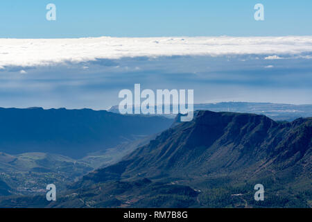 Gran Canaria island mountains and valleys landscape, view from highest peak Pico de las Nieves - Stock Image