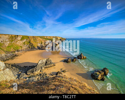 Sea stacks at Bedruthan Steps, Carnewas, Cornwall, England, UK. - Stock Image