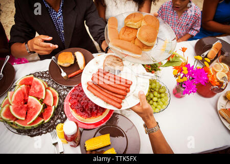 High angle view of food on breakfast table - Stock Image