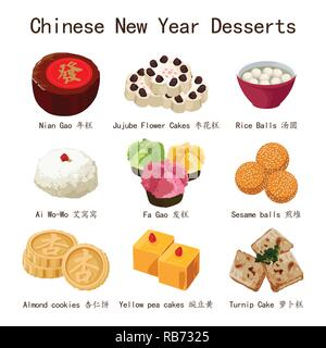 A vector illustration of Chinese New Year Desserts - Stock Image