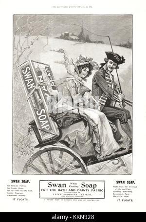 1901 UK Magazine Swan Soap Advert - Stock Image