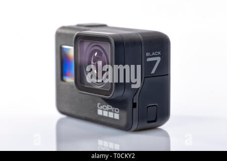 Detail of the new GoPro Hero 7 Black isolated on white. - Stock Image