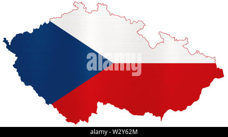 flag of the czech republic nation metallic country map illustration - Stock Image