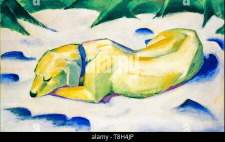 Franz Marc, Dog Lying in the snow, painting, 1911 - Stock Image