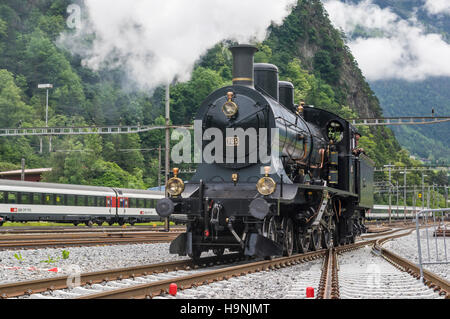 Steam locomotive A 3/5 No 705 'Zürich', built by SLM in 1904. Operated by SBB, the Swiss Federal Railways - Stock Image