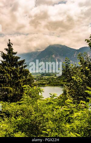 View of Lago di Levico at Levico Terme, Trentino, Italy - Stock Image