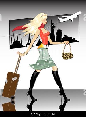 Travel girl - Stock Image