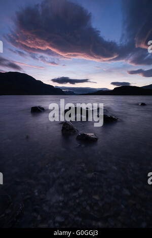 Sunset over lake Langas at STF Saltoluokta Fjällstation, Kungsleden trail, Lapland, Sweden - Stock Image
