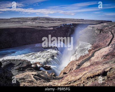 Gullfoss Waterfall in southern Iceland. This is one of the major attractions on the Golden Circle tourist route. - Stock Image
