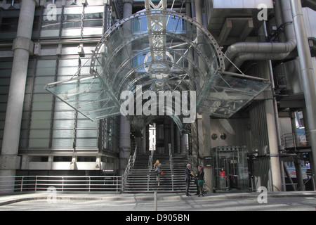 Entrance to Lloyds building in the City of London - Stock Image
