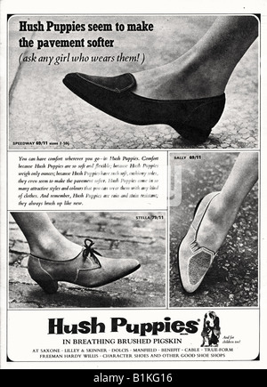 1965 Magazine Advertisement for Hush Puppies Brushed Pigskin shoes FOR EDITORIAL USE ONLY - Stock Image