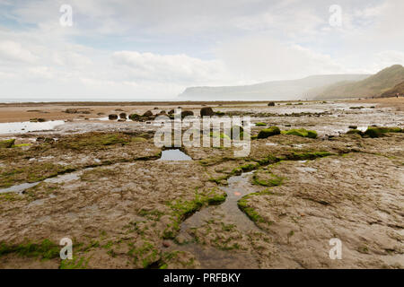 Low tide and sea mist at Robin Hood's Bay in the North York Moors National Park, UK. unsharpened - Stock Image