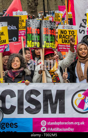 London, UK. 16th March 2019. The World Against Racism global day of action march in London in support of the UN Anti-Racism Day. Also against facism, Islamophobia and antisemitism it was organised by Stand Up to Racism and Love Music Hate Racism. Other demonstrations are planned in over 60 cities. Credit: Guy Bell/Alamy Live News - Stock Image