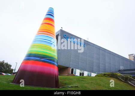 Exterior of Saint Marys Hospital and multi coloured cone on the Isle of Wight - Stock Image
