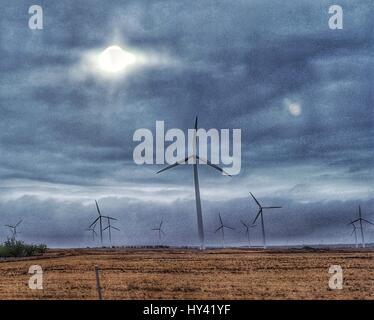 Wind Turbines On Field Against Sky - Stock Image