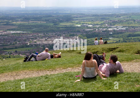 Summit of Rivington Pike,overlooking Horwich, Winter Hill, West Pennine Moors, Lancashire, England, UK - Stock Image