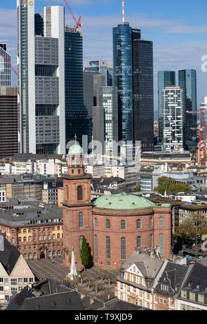 Skyline of Frankfurt am Main, skyscrapers, various facades, tower of Paulskirche - Stock Image