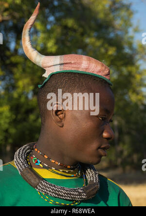 Himba tribe man with the traditional hairstyle, Cunene Province, Oncocua, Angola - Stock Image