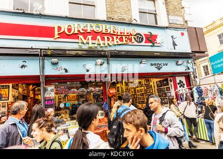 Portobello Market shop front, Portobello Road London UK England, Portobello Market shop Notting Hill London, Portobello - Stock Image