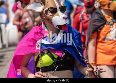 London, UK. 7th July 2018. Female pup walking at  Pride in London Parade 2018  Credit Ian Davidson/Alamy Live News - Stock Image