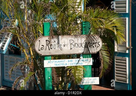 Closeup of restaurant, bar and ice cream sign, Gustavia, Saint-Barthelemy - Stock Image