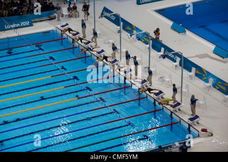 Womens 200m Medley Swimming Heat at Olympic Park, London 2012 Olympic Games site, Stratford London E20 UK, - Stock Image