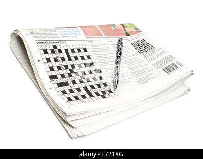 Newspaper crossword - Stock Image