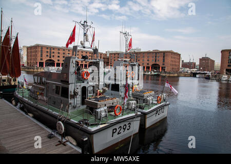 The rear of HMS Ranger and HMS Smiter berthed at the Albert Dock for the Tall Ships Festival Liverpool May 2018 - Stock Image