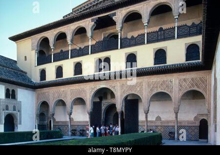 Patio de los arrajanes, Alcazar, Granada, Andalucia, Spain, Europe - Stock Image