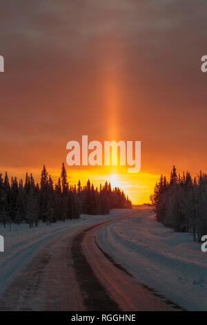 Winter landscape in direct light, shining through trees in a forest and sun pillar shooting up in the sky, road going in to the sun, snow is in the ai - Stock Image