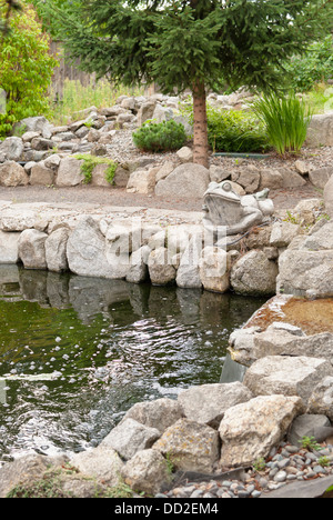 A cement frog overlooks the water garden pond, at Koi Gardens, Spokane, Washington State, USA. - Stock Image