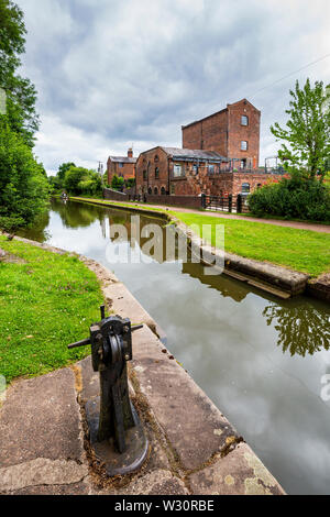 The Tardebigge Engine House by lock 57 on the Tardebigge Flight, Worcester and Birmingham Canal, Worcestershire - Stock Image