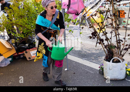 London, UK. 17th April 2019. A wellbeing woman waters the plants. Two days after Extinction Rebellion closed Waterloo Bridge turning it into a 'Garden Bridge' it remains closed to traffic despite a couple of hundred arrests. Activities continue on the bridge with new protesters arriving. Credit: Peter Marshall/Alamy Live News - Stock Image