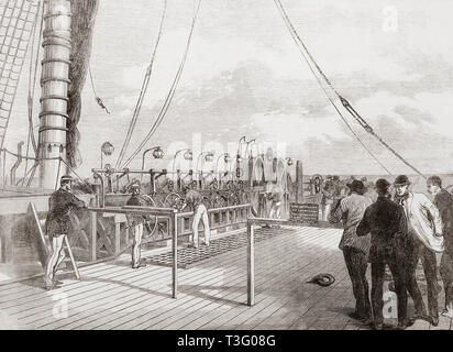 The paying-out machinery of the Atlantic telegraph cable on board The Great Eastern.  From The Illustrated London News, published 1865. - Stock Image