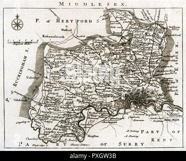 Map of Middlesex       Date: mid-18th century - Stock Image