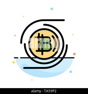 Bitcoins, Bitcoin, Block chain, Crypto currency, Decentralized Abstract Flat Color Icon Template - Stock Image