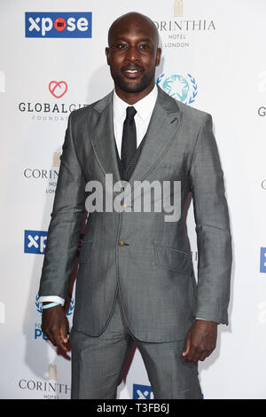 London, UK. 08th Apr, 2019. LONDON, UK. April 08, 2019: Carlton Cole arriving for the Football for Peace initiative dinner by Global Gift Foundation at the Corinthia Hotel, London. Picture: Steve Vas/Featureflash Credit: Paul Smith/Alamy Live News - Stock Image