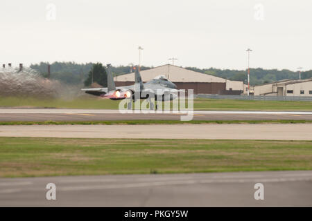 F-15 Aircraft jet fighter with afterburners taking off from  RAF Lakenheath, Suffolk, UK. Unsharpened - Stock Image