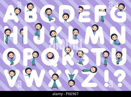 A set of old women wearing hijab designed with alphabet.Characters with fun expressions pose various poses.It's vector art so it's easy to edit. - Stock Image