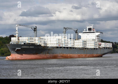 Hammonia Emden leaving Hamburg carrying a load of empty reefers - Stock Image