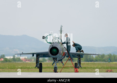Croatian Air Force MiG-21 UMD maintenance check up after landing - Stock Image